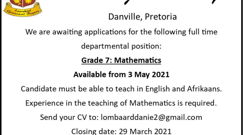 Teaching position available: